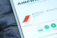 Linhas aéreas app móvel de Air France Foto de Stock Royalty Free