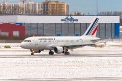 Linhas aéreas de Airbus a320 Air France, aeroporto Pulkovo, Rússia St Petersburg Janeiro 08 2018 Fotografia de Stock