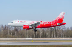 Linhas aéreas de Airbus a319 Rossiya, aeroporto Pulkovo, Rússia St Petersburg maio de 2017 Fotos de Stock