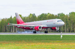 Linhas aéreas de Airbus a319 Rossiya, aeroporto Pulkovo, Rússia St Petersburg maio de 2017 Foto de Stock