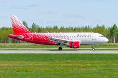 Linhas aéreas de Airbus a319 Rossiya, aeroporto Pulkovo, Rússia St Petersburg maio de 2017 Imagem de Stock Royalty Free