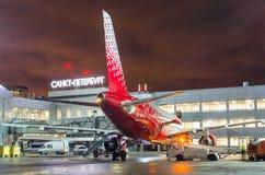 Linhas aéreas de Airbus a319 Rossiya, aeroporto Pulkovo, Rússia St Petersburg 22 de novembro de 2017 Fotografia de Stock Royalty Free