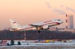 Linhas aéreas de Airbus a319 Rossiya, Rússia St Petersburg Pulkovo, o 20 de janeiro de 2015 Fotos de Stock Royalty Free