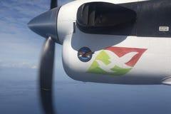 Linhas aéreas de Seychelles dos aviões no céu sobre Imagens de Stock