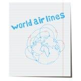 Linhas aéreas do mundo do ícone desenhados à mão Fotos de Stock Royalty Free