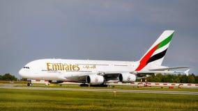 Linhas aéreas dos emirados, Airbus A380 Foto de Stock