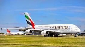 Linhas aéreas dos emirados, Airbus A380 Imagem de Stock Royalty Free