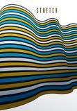 Linhas abstratas no fundo abstrato dimensional do vetor 3D, disposição de projeto funky fresca, molde 70s retro ilustração do vetor