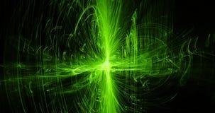 Linhas abstratas verdes fundo das partículas das curvas Fotografia de Stock