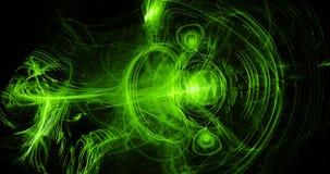 Linhas abstratas verdes fundo das partículas das curvas Imagens de Stock