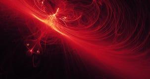Linhas abstratas vermelhas e amarelas fundo das partículas das curvas Imagens de Stock