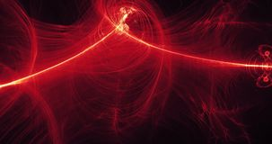 Linhas abstratas vermelhas e amarelas fundo das partículas das curvas Foto de Stock Royalty Free