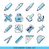 Linhas ajustadas ícones ilustração azul dos artigos de papelaria do vetor Fotos de Stock Royalty Free