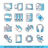 Linhas ajustadas ícones illustrat azul do computador do vetor Fotografia de Stock