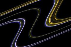 Linhas Linhas alaranjadas azuis douradas fluidas coloridas, fundo brincalhão fotografia de stock royalty free