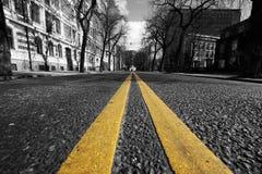 Linhas amarelas dobro na rua da cidade Foto de Stock Royalty Free