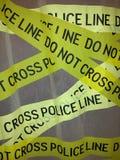 Linhas amarelas que advertem pela polícia Imagem de Stock Royalty Free