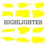 Linhas amarelas tiradas mão do marcador do destaque ilustração royalty free