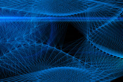Linhas azuis abstratas em um fundo preto Linha arte Illu do vetor Fotografia de Stock Royalty Free