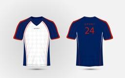 Linhas azuis, brancas e vermelhas t-shirt do esporte do futebol da disposição, jogos, jérsei, molde do projeto da camisa ilustração do vetor