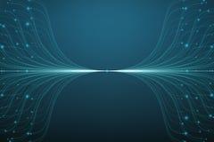 Linhas azuis fundo do vetor abstrato da malha Bioluminescência dos tentáculos Cartão futurista do estilo ilustração royalty free