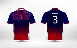 Linhas azuis, vermelhas e brancas t-shirt do esporte do futebol da disposição, jogos, jérsei, molde do projeto da camisa ilustração do vetor