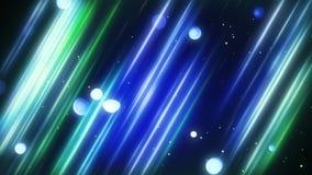 Linhas borradas e luzes diagonais azuis e verdes do bokeh Imagem de Stock Royalty Free