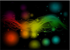 Linhas coloridas brilhantes no fundo preto Fotografia de Stock Royalty Free
