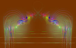 Linhas coloridas dos círculos concêntricos do Fractal ilustração royalty free