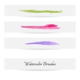 Linhas da escova da aquarela Cursos da escova do vetor Foto de Stock Royalty Free