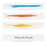 Linhas da escova da aquarela Cursos da escova do vetor Fotos de Stock Royalty Free
