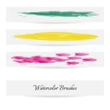 Linhas da escova da aquarela Cursos da escova do vetor Fotos de Stock