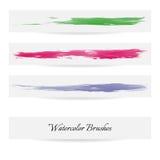 Linhas da escova da aquarela Cursos da escova do vetor Fotografia de Stock