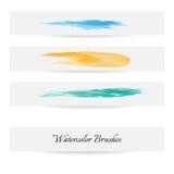 Linhas da escova da aquarela Cursos da escova do vetor Fotografia de Stock Royalty Free