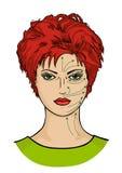 Linhas da massagem de Sheme na cara da mulher ilustração do vetor