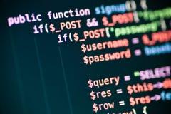 Linhas de código do PHP em um monitor Imagem de Stock