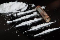 Linhas de cocaína imagem de stock royalty free