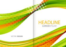Linhas de cor abstratas fundo Folheto do molde Imagens de Stock