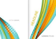 Linhas de cor abstratas fundo Folheto do molde Imagem de Stock