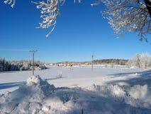 Linhas de eletricidade nevadas Foto de Stock Royalty Free