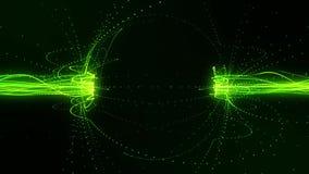 Linhas de fluxo verdes em um fundo do movimento de Loopable do campo magnético ilustração do vetor