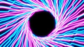linhas de néon de incandescência da luz ultravioleta do sumário 4K ilustração stock