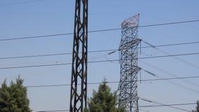 Linhas de transmissão da energia eléctrica foto de stock royalty free