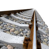Linhas de trilhos em dorminhocos concretos Foto de Stock Royalty Free