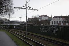 Linhas do bonde em Kopli, Tallinn Fotografia de Stock Royalty Free