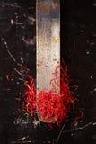 Linhas do espaço do açafrão na faca do vintage Fotos de Stock Royalty Free