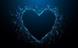 Linhas do formulário do ícone do coração e triângulos abstratos, rede de conexão do ponto no fundo azul ilustração royalty free