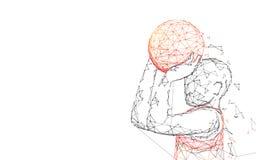 Linhas do formulário do tiro do jogador de basquetebol, triângulos e projeto do estilo da partícula ilustração stock