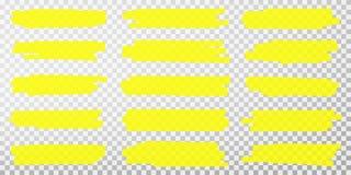 Linhas do highlighter Cursos amarelos tirados m?o do marcador do highlighter Ajuste dos marcadores fluorescentes transparentes do ilustração royalty free