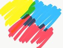 Linhas do marcador de cor amarela, vermelha e azul fotografia de stock